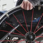 Low angle view of man in wheel chair